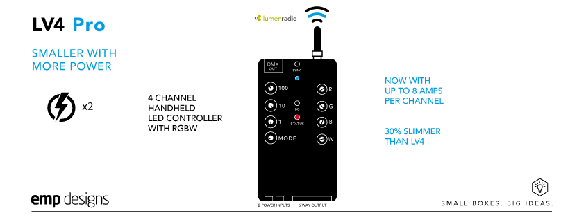 The LV4 Pro handheld dimmer is our market leading, 4 channel, RGBW LED controller with embedded radio and with up to 8 amps per channel.