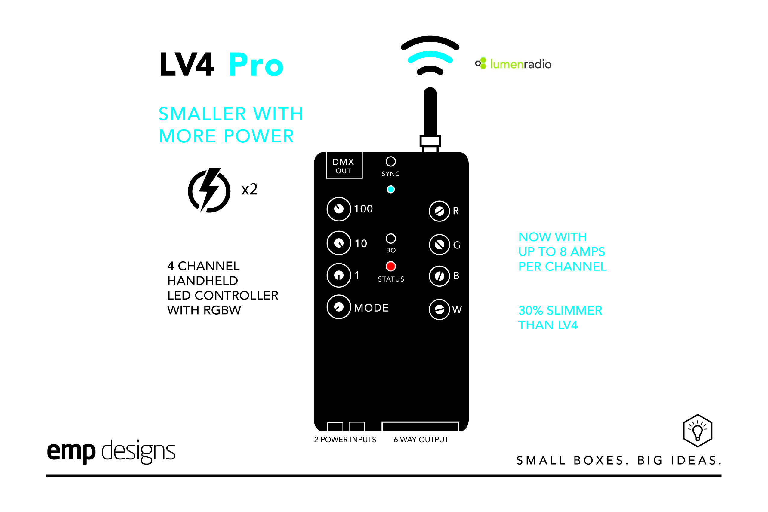 LV4 Pro is our smallest slimmest 4 channel, RGBW LED controller.