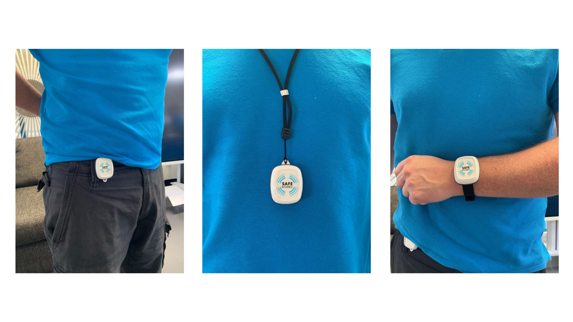 Safe Distance social distance monitor wearables - belt clip, lanyard and wristband